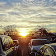 Sunset In Parking Lot 2 Poster