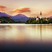 Sunset On Lake Bled Poster