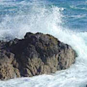 Surf On Rocks Poster