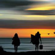 Surfer Girls Silhouette Poster