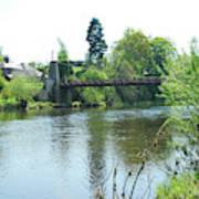 suspension bridge on river Teviot near Heiton Poster