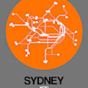 Sydney Orange Subway Map Poster