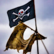 Tattered Sail And Pirate Flag Poster