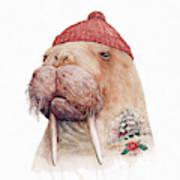 Tattooed Walrus Red Poster