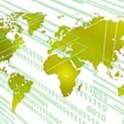 Tech Worldmap With Binary Code Poster