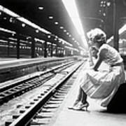 Teenage Girl Waiting For Train Poster