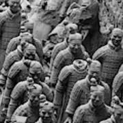 Terra Cotta Warriors In Black And White, Xian, China Poster