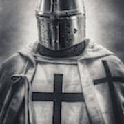 Teutonic Knight Black And White Poster