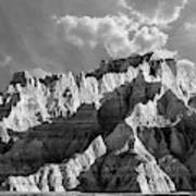 The Badlands In Black And White Poster