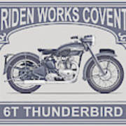 The Classic Thunderbird Motorcycle Poster