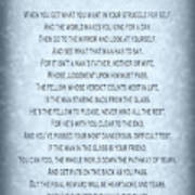 The Man In The Glass Poem - Blue Grey Poster