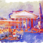 The Pantheon Rome Watercolor Streetscape Poster