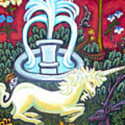 The Unicorn And Garden Poster