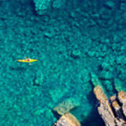 Top View Of Kayak Boat Oin Shallow Poster