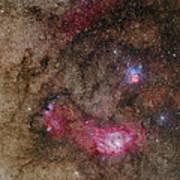 Trifid Nebula And Lagoon Nebula Poster