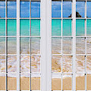 Tropical Paradise Beach Day Windows Poster