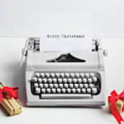 Typewriter With Merry Christmas Text And Gifts Poster