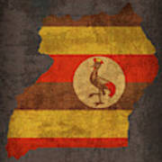 Uganda Country Flag Map Poster