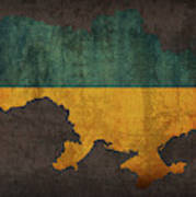 Ukraine Country Flag Map Poster