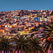 Valparaiso Illuminated At Night Poster