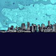Vancouver Skyline Map Turquoise Poster