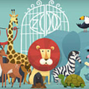 Vector Illustration Card With Animals Poster