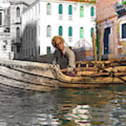 Venice Pause In The Evening Poster