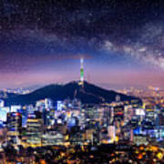 View Of Downtown Cityscape And Seoul Poster