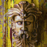 Viking Mask On Old Door Poster