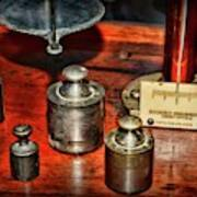 Vintage Apothecary Pharmacist Weights And Scale Poster