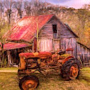 Vintage At The Farm Watercolors Painting Poster