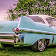 Vintage Blue Caddy American Vintage Car Poster