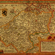 Vintage Map Of Belgium And Flanders Poster