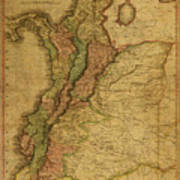 Vintage Map Of Columbia 1818 Poster