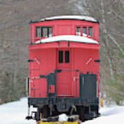 Vintage Red Caboose In Winter Poster