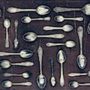 Vintage Set Of Dessert Spoons On A Dark Poster