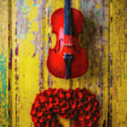 Violin And Heart Wreath Poster
