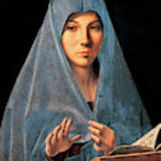 Virgin Of Annunciation Painting By Antonello Di Antonio Dit Antonello Da Messina Poster