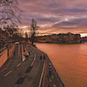 Walking Along The Seine At Sunset Poster