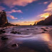 Washington Coast Sunset Sands Poster