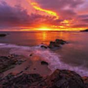 Washington Coast Sunset Serene Evening Poster