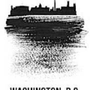 Washington, D.c. Skyline Brush Stroke Black Poster