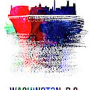Washington, D.c. Skyline Brush Stroke Watercolor   Poster