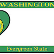 Washington State License Plate Poster