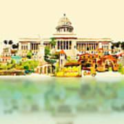 Water Color Vector Panoramic Cuba Poster
