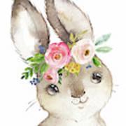 Watercolor Boho Bunny Rabbit Art Print Poster
