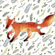 Watercolor Cute Running Fox With Green Poster