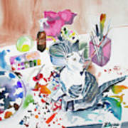 Watercolor - Kitten On My Painting Table Poster