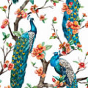 Watercolor Pattern Peacock On A Tree Poster