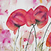 Watercolor - Poppy Portrait Poster